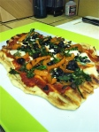 BBQ Pizza w/ Broccolini, Black Olives, Basil, Buffalo Mozzarella & Bell Pepper